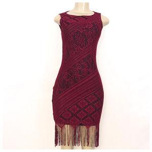 Red & Black Knit Midi Dress Medium